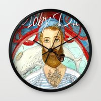 moby dick Wall Clocks featuring Moby Dick by Rose Draft
