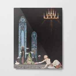 kay nielsen On that island stands a church in that church is a well in that well swims a duck Metal Print