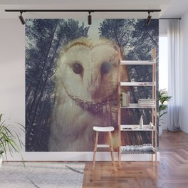 Merge owl and forest reflection Wall Mural