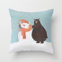 snowman Throw Pillows featuring Snowman by Nadia Kovaliova