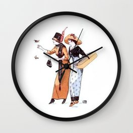 Vintage Flapper Ladies Fashion Earth Tones Wall Clock