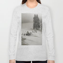 Snow covered mountain meadow fith pine trees and fence Long Sleeve T-shirt