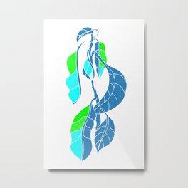 Avocado in Light Blue Metal Print