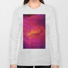 Pink Glitch abstract Long Sleeve T-shirt