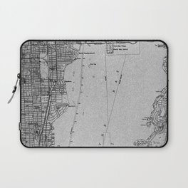 14-Miami Florida 1950 old vintage gray map Laptop Sleeve