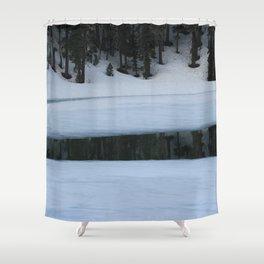 Snow. Stripes. Fogged Mirror. Shower Curtain