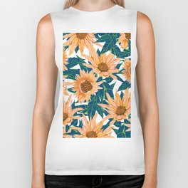 Blush Sunflowers Biker Tank