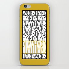 Work Hard, Play Hard - Black, Yellow - Saying, Quote - Typography iPhone & iPod Skin