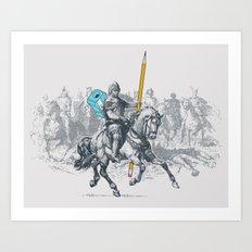 The Mighty Pencil Knight Art Print