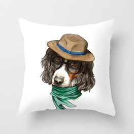 Hipster Spaniel Throw Pillow
