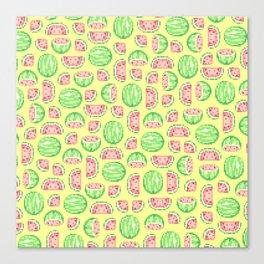 Pixel Watermelon Pattern Canvas Print