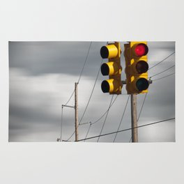 Waiting for the Traffic Light watching Gray Clouds flow by Rug
