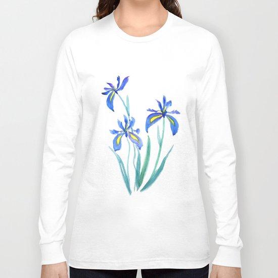 blue iris watercolor Long Sleeve T-shirt