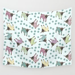 Pajama'd Baby Goats - Blue Wall Tapestry