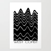 west coast Art Prints featuring WEST COAST  by Blackposter