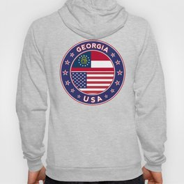 Georgia, Georgia t-shirt, Georgia sticker, circle, Georgia flag, white bg Hoody