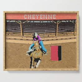 Cheyenne Rodeo Cowgirl Barrel Racing Serving Tray