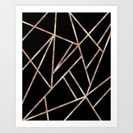 Classic Black Rose Gold Geo #1 #geometric #decor #art #society6 Art Print