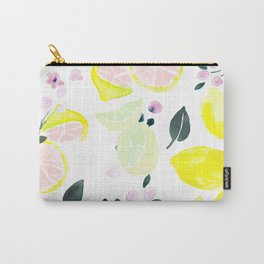Pink Lemonade Citrus and Flowers Carry-All Pouch