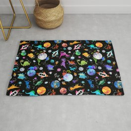 Dinosaur Astronauts In Outer Space Rug