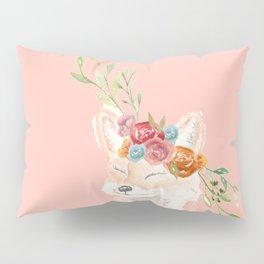 Watercolor fox flower crown peach Pillow Sham