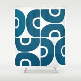 Mid Century Modern Abstract Pattern 7721 Blue Shower Curtain