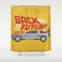 delorean Shower Curtains featuring The future is coming by Beardy Graphics
