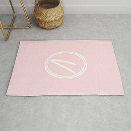 Monogram - Letter V on Pale Pink Background Rug