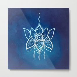 Blue Lotus Flower Mandala Metal Print