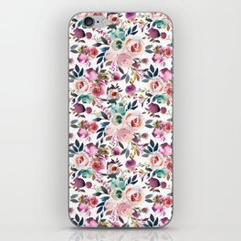 Hand painted blush pink purple watercolor floral iPhone Skin