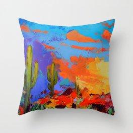 Saguaros Land Sunset - square version Throw Pillow