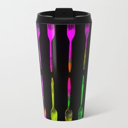 fork and spoon pattern in pink blue yellow with black background Travel Mug