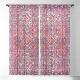 N118 - Pink Colored Oriental Traditional Bohemian Moroccan Artwork. Sheer Curtain