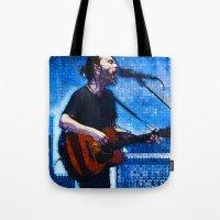 radiohead Tote Bags featuring Radiohead / Thom Yorke by JR van Kampen