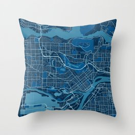 Burnaby - Canada Peace City Map Throw Pillow