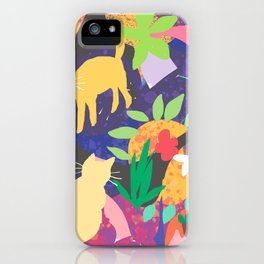 Cats and Plants with Abstract Background iPhone Case