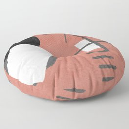 """A simple """"Miró"""" on a red background - minimal composition Floor Pillow"""
