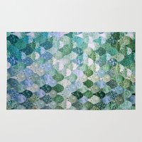 bokeh Area & Throw Rugs featuring REALLY MERMAID by Monika Strigel
