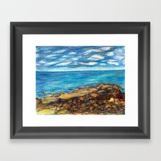 maine coast seascape Framed Art Print