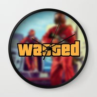 wasted rita Wall Clocks featuring Wasted by D-fens