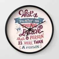 paper towns Wall Clocks featuring Paper Towns: Treacherous Thing by Risa Rodil