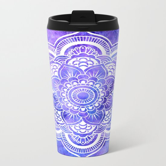Mandala Violet Blue Galaxy Space Metal Travel Mug