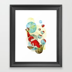 Koi Fish In Love Framed Art Print