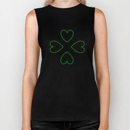 St. Patrick's Day Shamrock Lucky Charm Green Clover Veart with Arrows Biker Tank