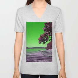 Tropical Beach with Wooden Boats in Green Unisex V-Neck