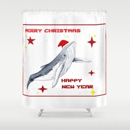 Merry Christmas Season greetings for whale lovers Shower Curtain