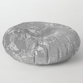 Luxury chic faux silver glitter floral Floor Pillow