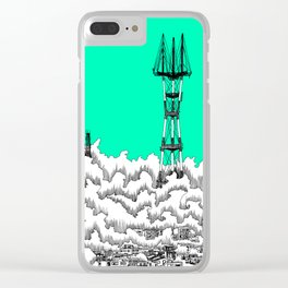 San Francisco - Sutro Tower (green sky) Clear iPhone Case
