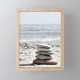 Balancing Stones On The Beach Framed Mini Art Print