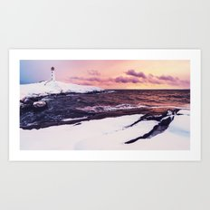 Fresh Snow at Peggy's Cove Lighthouse Art Print